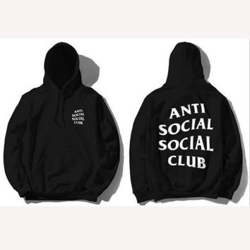 ANTI SOCIAL SOCIAL CLUB printed sweater men and women tide brand street fashion couple hooded jacket Black
