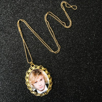 Evan Peters Gold Pendant Cameo Necklace
