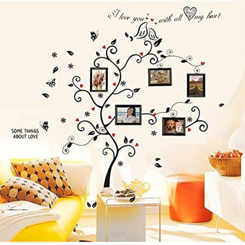 Colorful-Decals Kiss Birds Trees Hearts Leaves Black Photo Picture Frame Decal Removable Wall Decals Large Wall Stickers Love Quotes & Decorative Painting Supplies & Wall Sticker for Living Room Bedroom Wallpops Decal