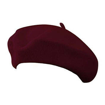 "11"" WINE RED Wool Blend French Artist Beret Cap"