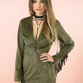 "Micro Suede Olive Green ""Rock Out"" Dress"