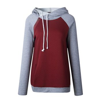Burgundy Color Block Hooded Sweater