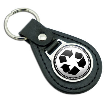 Recycle Symbol Black Leather Keychain