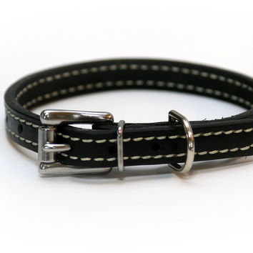 Latigo Leather 1/2 Inch Stiched Black Dog Collar