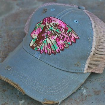 Wild Rose Destroyed Trucker Caps ~ Hail to the Chief