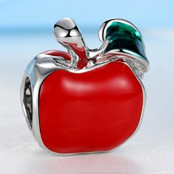 New Silver Plated Bead Charm European Cute Red Enamel Apple Beads Fit Women Pandora Br