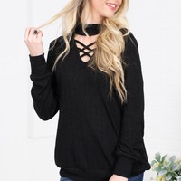 Cheryl Lace Up Sweater Top| Black