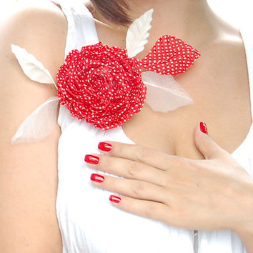 HANDMADE red polka dot silk flower hair clip/pin brooch