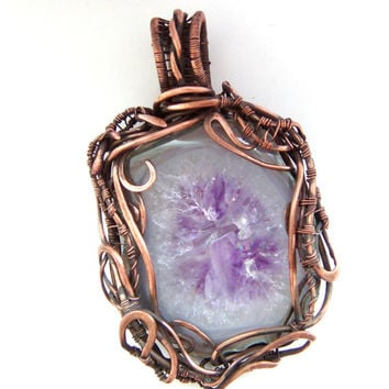 Copper Wire Wrapped pendant FREE SHIPPING, amethyst, Druze amethyst