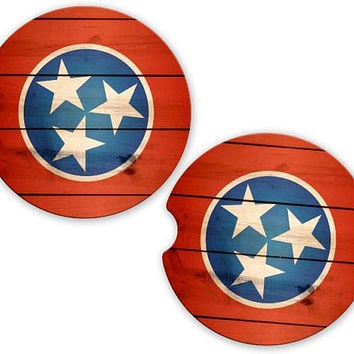 Tennessee Flag Wood Look Car Cup Coaster, Tri state  Cup Holder Coaster, Custom Auto Gift, Sandstone Coaster, gift for her or him