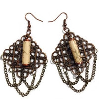 Paper Bead Steampunk Chandelier Earrings, Paper Bead Earrings, Steampunk Earrings, Chandelier Earrings