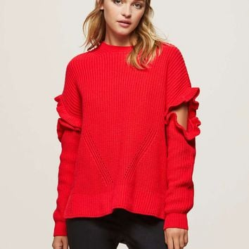 Red Frill Sleeve Knitted Jumper - View All - Sale
