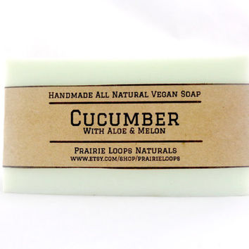 Cucumber Soap - ALOE, Melon, Natural Soap, Vegan Soap, Handmade Soap, Cold Process Soap, Organic, Facial bar Soap, Bath Soap,