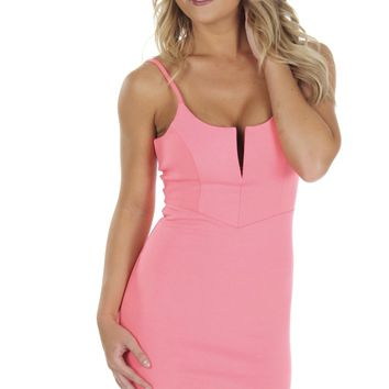 Cut Bodycon Neon Coral
