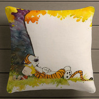Calvin and Hobbes Sleep Square Pillow Case Custom Zippered Pillow Case one side and two side