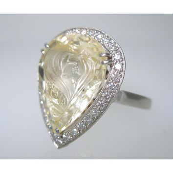 CATHY CARMENDY ONE OF A KIND PLATINUM & YELLOW SAPPHIRE CAMEO RING sz 6 - Jewelry | Portero Luxury