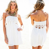 White Strapless Lace Trimmed Dress