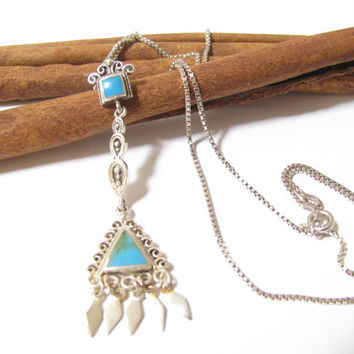 Vintage Turquoise & Sterling Silver Pendant Necklace - Southwestern - Tribal - Silver Box Chain - Marked 925