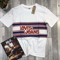 Levi'S Jeans Woman Men Casual Stripe Short Sleeve Tunic Shirt Top Blouse