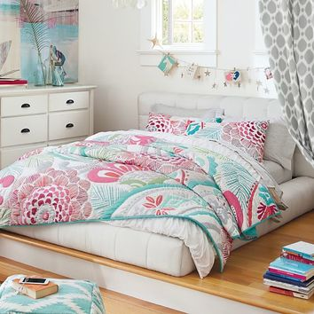 Ocean Bloom Wholecloth Quilt + Sham