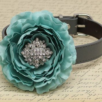 Dusty Blue Wedding Dog Collar, High Quality leather, Pet accessory, Floral with Rhinestones