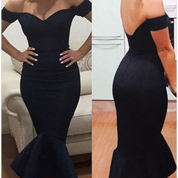 2016 Elegant Long Party Dresses Nary Blue Gown Sexy Long Dress Party Evening Elegant Women Bodycon Mermaid Dress Off Shoulder