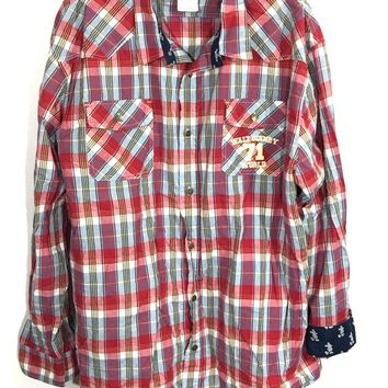 Disney Parks 71 Red Plaid Western Button Down Shirt Mickey Contrast Flip Cuff Mens XL-Preowned