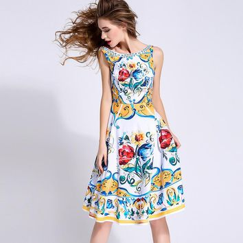 New summer fashion brand women floral porcelain tile print dress sleeveless casual knee length stunning dresses sexy