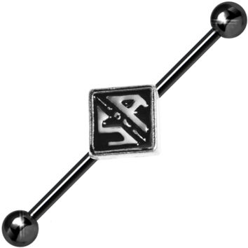 14 Gauge Black Officially Licensed Sons of Anarchy Industrial Barbell | Body Candy Body Jewelry