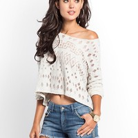 Long-Sleeve Textured Burnout Pullover at Guess