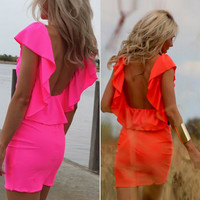Flounced Backless Sleeveless Mini Dress