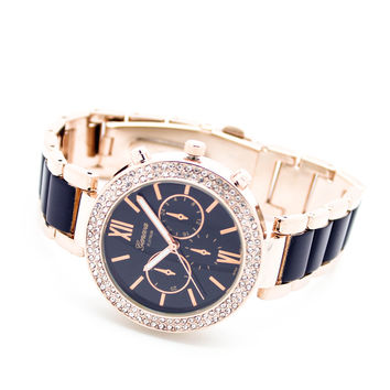 Crystal bezel enamel watch