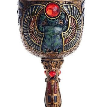 Ancient Egyptian Winged Scarab Ceremonial Chalice Cup 7oz Wine Goblet