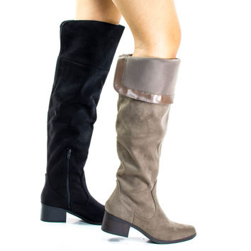 Pamela Taupe by City Classified, Western Knee High Boots w Foldable Flap & Block Stacked Heel