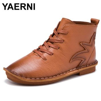 YAERNI Fashion Round Toe Women Shoes 2017 Autumn Soft Genuine Leather Ankle Boots Lace Up Casual Female Flat Short Boots