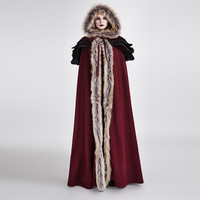 Punk Gothic Fall Winter Long Wool Collar Cloak Coat Women Vintage Long Trench Capes Warm Overcoats with Hooded