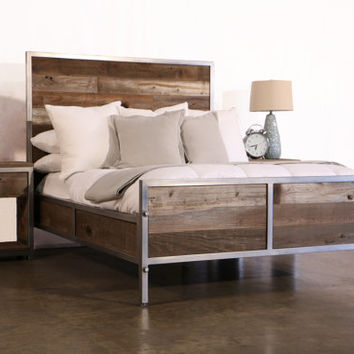 Reclaimed Wood Industrial Bed