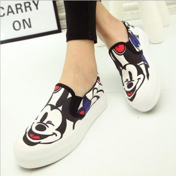 Spring Autumn New White Gray Color Women Canvas Shoes Mickey Cartoon Print Platform Sh