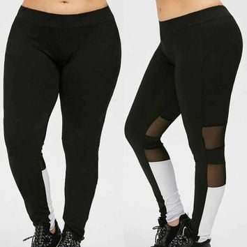 2017 Women Plus Size Elastic Yoga Leggings Black Mesh Splicing Compresion Tights Sport Pants #EW