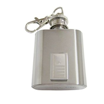 Silver Toned Etched Nautical Captain Rank 1 Oz. Stainless Steel Key Chain Flask