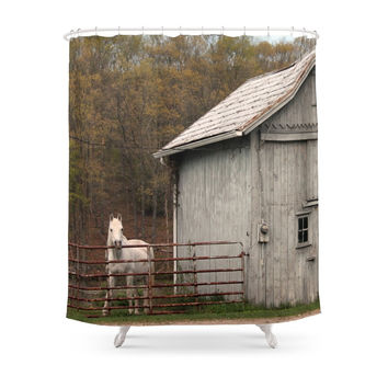 Society6 Farm With Barn And Horse Shower Curtains