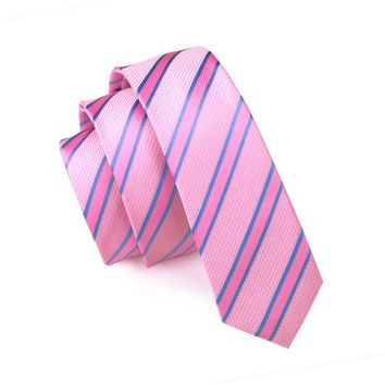 Mens Ties Silk Skinny Ties For Men Slim Tie Stripe Pink Necktie