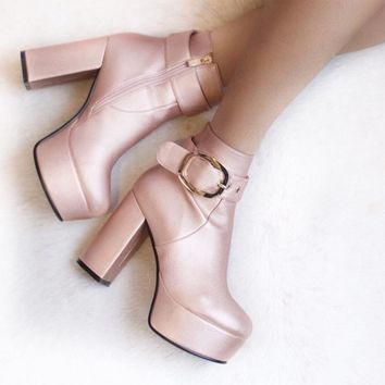 Buggin' Buckle Detail Platform Heeled Ankle Boots In Rose Gold Textured PU