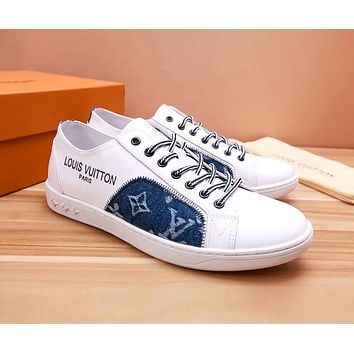 LV Louis Vuitton Old Skool Fashion Men Casual Leather Flats Sneakers Sport Shoes White/Blue I-OMDP-GD