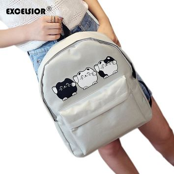 EXCELSIOR Harajuku Style Canvas Backpacks / School Bags Cartoon Cat Backpack