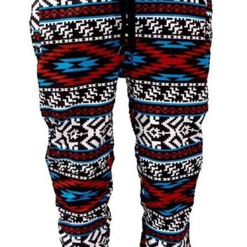 New Men's Black/White/Red/Blue Aztec Print Poly/Cotton Joggers Tapered Leg