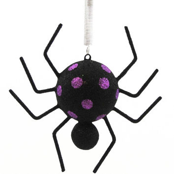 Halloween SPOTTED SPIDER ORNAMENT Resin Spring Purple BB0002 PURPLE
