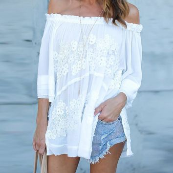 Women Long Sleeve Off Shoulder White Lace Floral Chiffon Blouse Casual Loose Slash Neck Boho Shirt Chemise Femme jd4