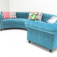 www.roomservicestore.com - Chesterfield Sectional In Turquoise Velvet