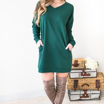 Casual Friday Hunter Green V-Neck Sweatshirt Dress
